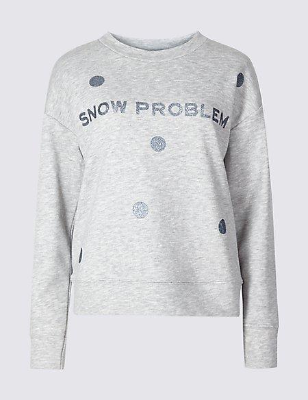 Cotton Blend Snowflake Christmas Sweatshirt