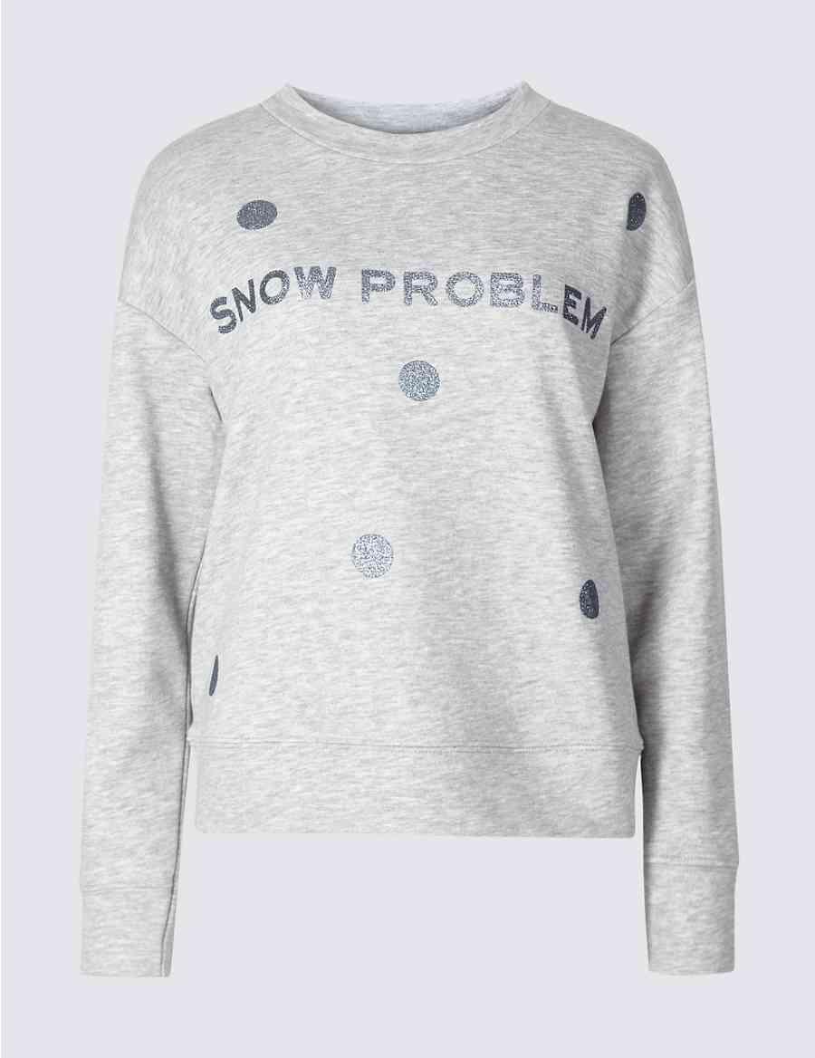 Cotton Blend Snowflake Christmas Sweatshirt   M&S Collection   M&S