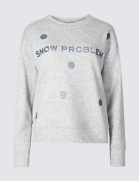 Cotton Blend Printed Round Neck Sweatshirt