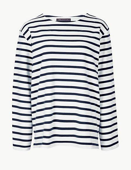 Cotton Rich Striped Long Sleeve Sweatshirt