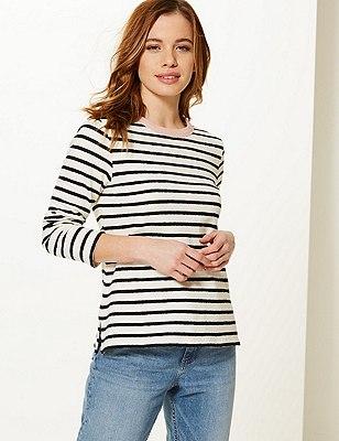 PETITE Pure Cotton Striped Sweatshirt