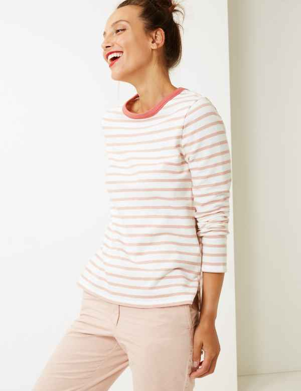 Pure Cotton Striped Long Sleeve T-Shirt f719a72e8