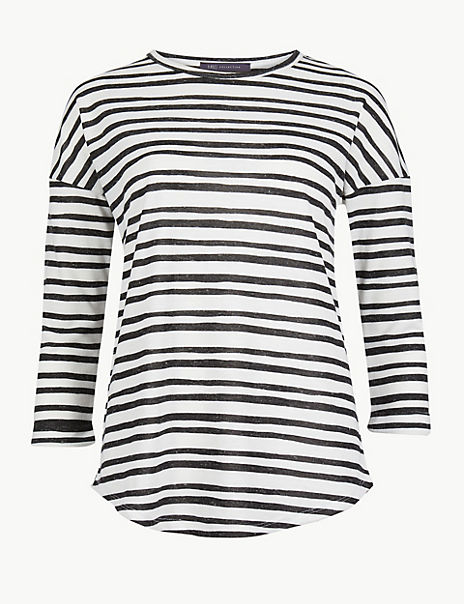 Striped 3/4 Sleeve Relaxed T-Shirt with Linen