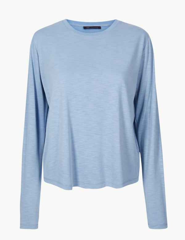 Super Soft Round Neck Long Sleeve T-Shirt 2d921c6d698