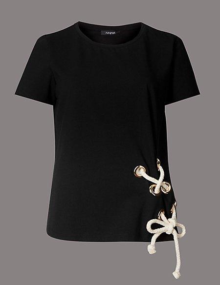 Cotton Rich Tie Side Short Sleeve T-Shirt