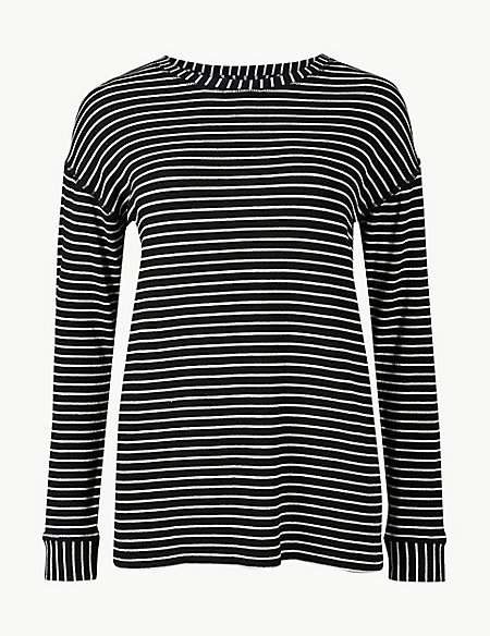 Cotton Blend Striped Long Sleeve Sweatshirt