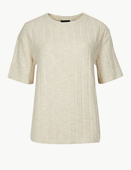 Textured Cosy Short Sleeve Sweatshirt