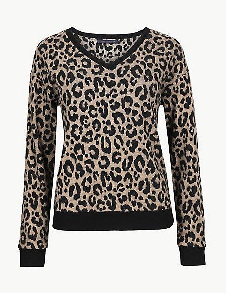 Animal Print V-Neck Long Sleeve Sweatshirt