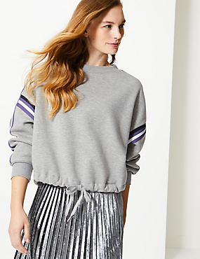 Cotton Blend Long Sleeve Cropped Sweatshirt