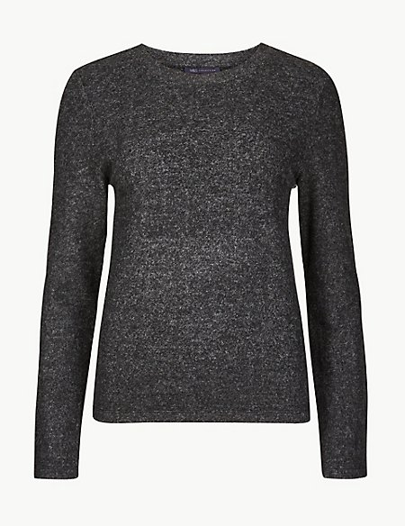 Cosy Textured Round Neck Long Sleeve Top