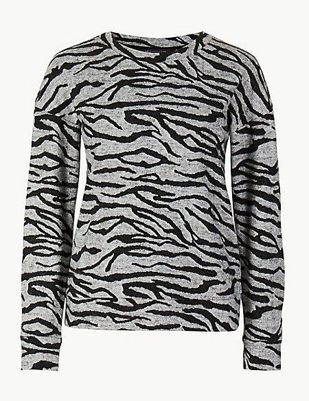 Animal Print Long Sleeve Sweatshirt