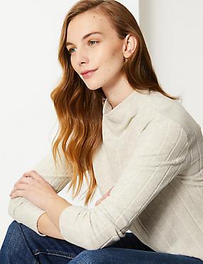 Cosy Textured Funnel Neck Sweatshirt