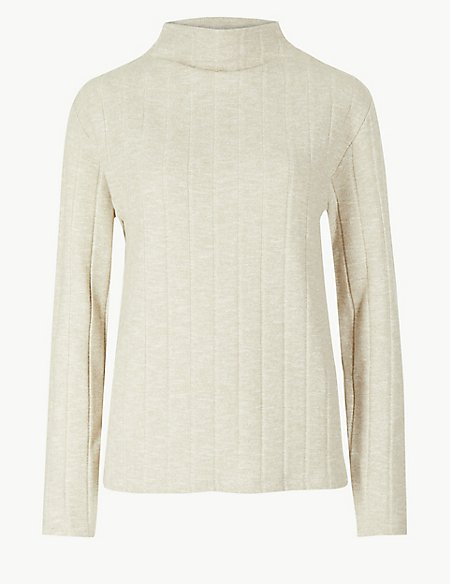 Cosy Textured Funnel Neck Top