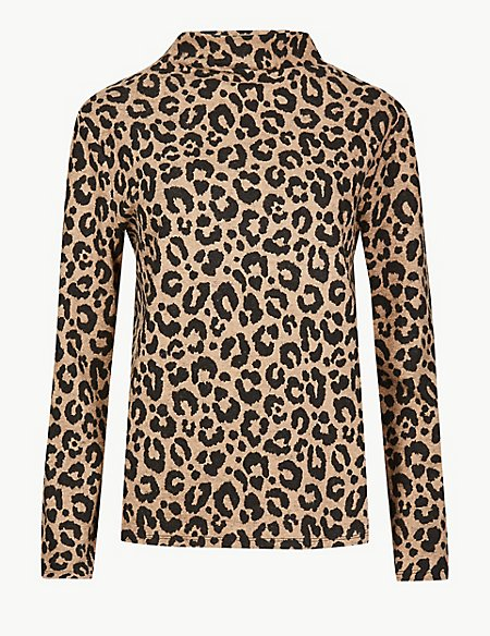 Cosy Animal Print Funnel Neck Top