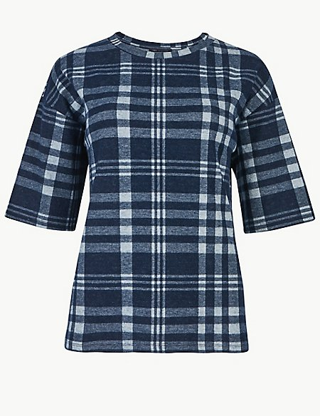 Checked Round Neck Short Sleeve Sweatshirt