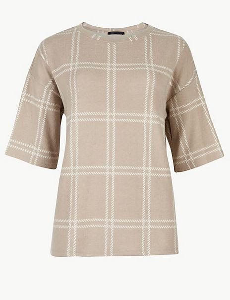 Checked Regular Fit Sweatshirt