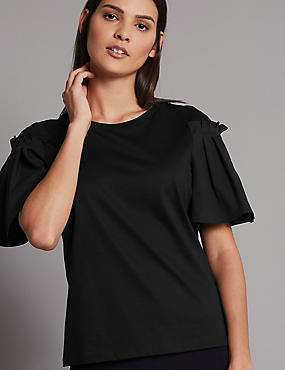 Pure Cotton Flute Sleeve Round Neck T-Shirt