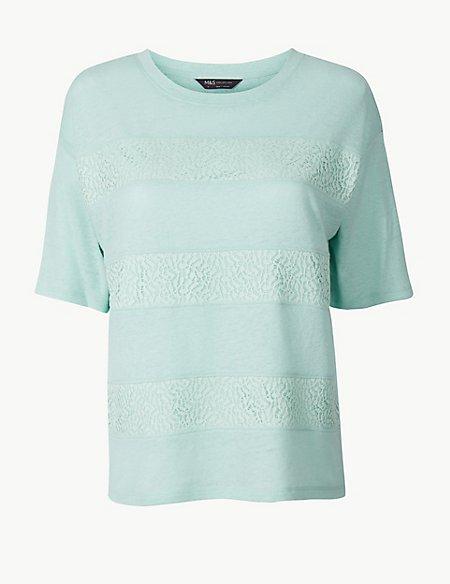 PETITE Linen Blend Lace T-Shirt