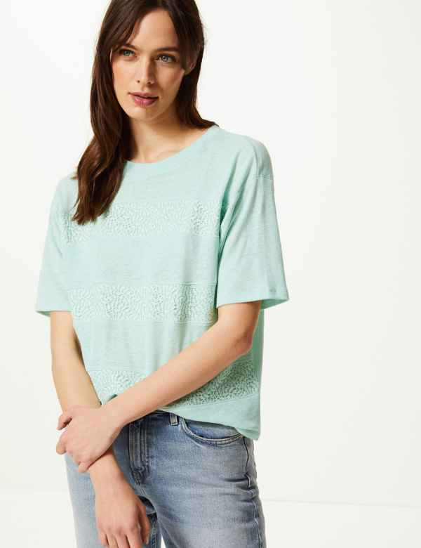 062d19cd405a61 Linen Blend Lace Detail T-Shirt