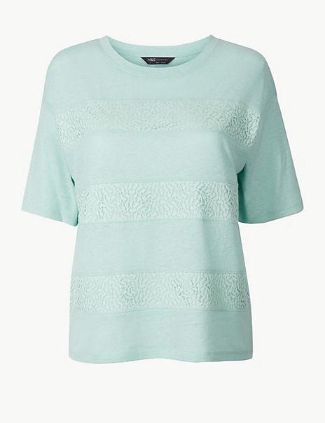 Linen Blend Lace Detail Regular Fit T-Shirt
