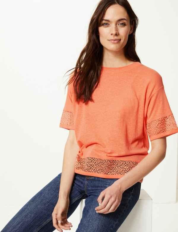 Lace Hem Round Neck Short Sleeve T-Shirt 145ac31b0f29