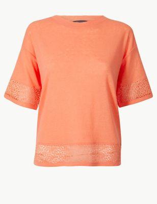 c96ee912f84 Lace Hem Round Neck Short Sleeve T-Shirt £15.00