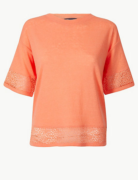 Linen Blend Lace Hem Relaxed Fit T-Shirt