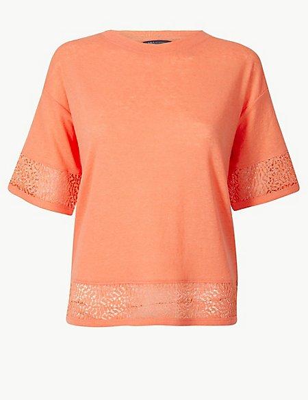 Linen Blend Lace Hem T-Shirt