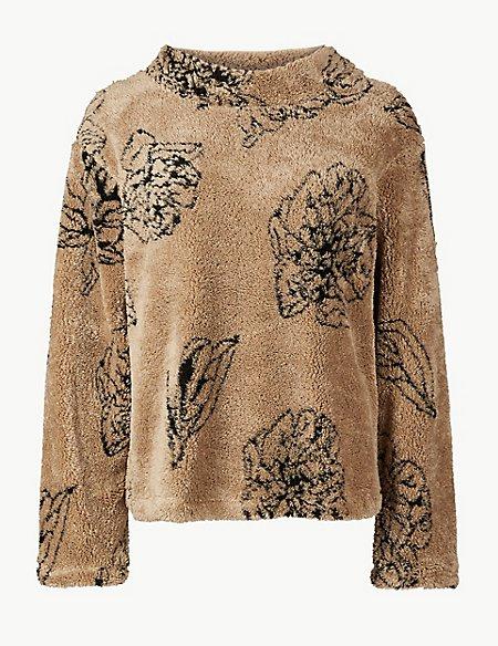 Printed Long Sleeve Borg Sweatshirt