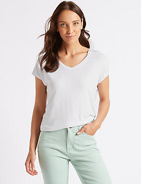 Sparkle Stripe V-Neck Short Sleeve T-Shirt