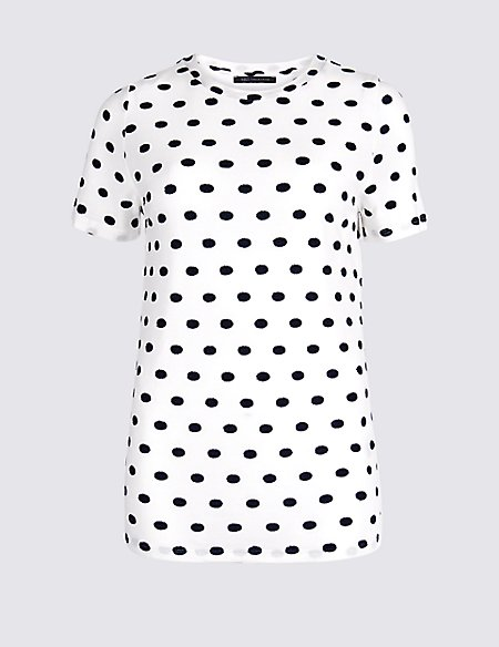 Spotted Round Neck Short Sleeve T-Shirt