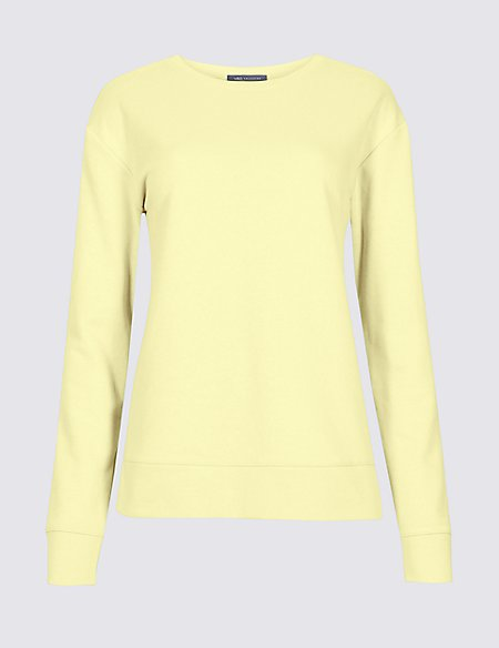Marks & Spencer Cotton Rich Long Sleeve Sweatshirt - - 6 Clearance Release Dates New Cheap Price Cheap Sale For Cheap Clearance 100% Guaranteed Xxvew