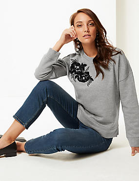 Cotton Rich Embroidered Sweatshirt