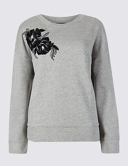 Cotton Rich Embroidered Sweatshirt