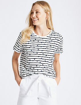 Pure Cotton Striped Star Print T-Shirt