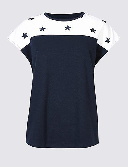 Pure Cotton Star Print Short Sleeve T-Shirt