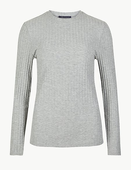 Textured Round Neck Long Sleeve Top