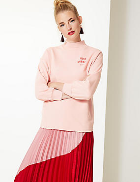 Cotton Blend Printed Long Sleeve Sweatshirt