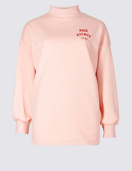 Cotton Blend Printed Long Sleeve Sweatshirt