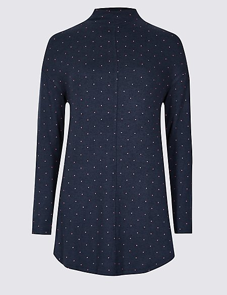 Spotted Funnel Neck Long Sleeve Top