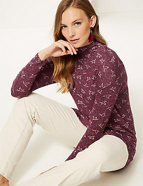 Printed Funnel Neck Long Sleeve Top , PLUM MIX, catlanding