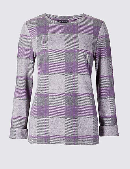 Checked Round Neck Long Sleeve Sweatshirt