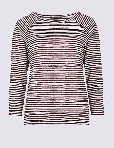 Striped Raglan Round Neck 3/4 Sleeve Top