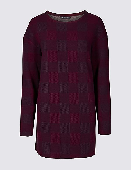Checked Round Neck Long Sleeve Top