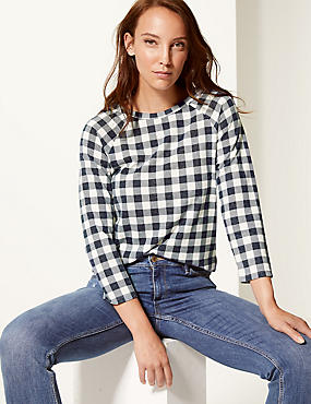 Checked Raglan Round Neck 3/4 Sleeve Top