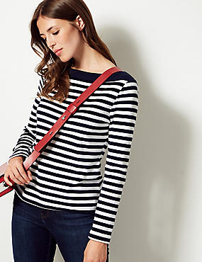 Cotton Rich Striped Long Sleeve Top , NAVY MIX, catlanding