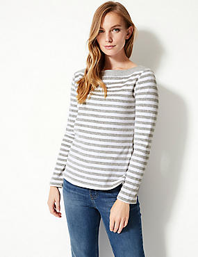 Cotton Rich Velour Striped Long Sleeve Top, GREY MIX, catlanding
