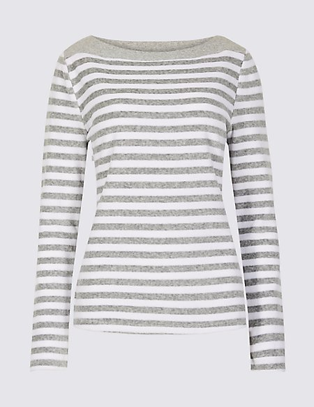 Cotton Rich Velour Striped Long Sleeve Top