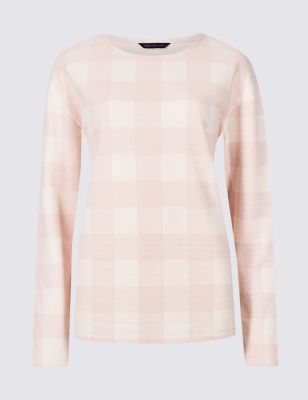 Checked Round Neck Long Sleeve Sweatshirt by Marks & Spencer