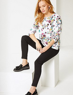 PETITE Floral Print Long Sleeve Top